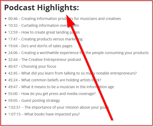 An example of podcast media highlights