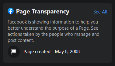 Facebook page transparency, selling music successfully online